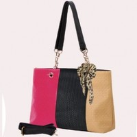 MG Collection Woven Pattern Embossed Satchel Shoulder Bag W/ Accent Scarf