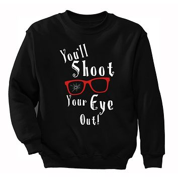 XtraFly Apparel Men's Winter You'll Shoot Your Eye Out Glasses Ugly Christmas Pullover Crewneck-Sweatshirt