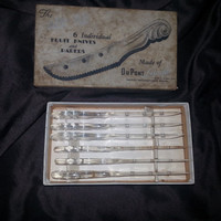 Vintage 1950s Aer-Flo LUCITE DuPont Set of 6 Fruit Knives and Parers