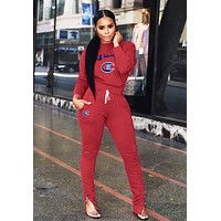 Champion Autumn Winter Fashion Women Casual Embroidery Long Sleeve Top Pants Set Two-Piece Sportswear Burgundy