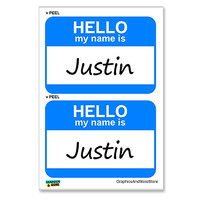 Justin Hello My Name Is - Sheet of 2 Stickers