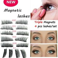 3D Mink Lashes 4PCS/Box Magnetic Eyelashes Soft Hair Double Magnet Eyelashes Extension Eye Makeup Accessories Dropship