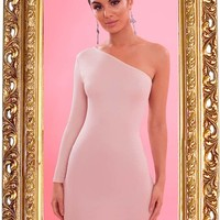 Nude Crepe One Sleeve Bodycon Dress