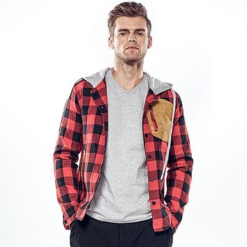 Men's Plaid Suede Pocket Casual Hooded Jackets