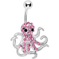 Pink Encrusted Floating Octopus Belly Button Ring