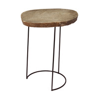 Lazy Susan Tall Stone Slab & Wire Frame Table - 159-009