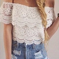 New Fashion Women's Sexy Lace Crochet Tops Off-Shoulder Tee Shirt Casual Blouse