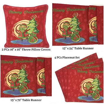 DaDa Bedding Set of 8 Pieces Red Santa Claus Holiday Table Tapestry - 4 Placemats, 2 Table Runners, 2 Throw Pillow Covers (17615)
