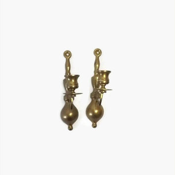 ON SALE - Solid Brass Candle Sconces, Vintage Wall Candle Holders