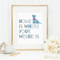 Westie art print, personalized dog art print for your Westie, West Highland White Terrier, lovely dog wall art great gift for dog owners