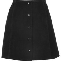 Suede Button Front A-Line Skirt - Black
