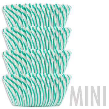 Mini Green Candy Stripe Baking Cups