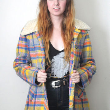 Vintage 70s Hippie Southwestern // Jacket // Pastel Plaid // Sherpa // Yellow Blue Orange Pink // Size Small