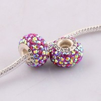 High Quality Palevioletred Czech AB Crystal European Charm Bead Pp673