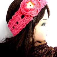 Dark Pink Crochet Headband Ear Warmer Turband Style Bandeau Headband Cozy Women's Crochet Fashion Hairband Accessories Headband