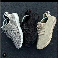 Tagre™ Adidas Women Yeezy Boost Sneakers Running Sports Shoes Grey Black