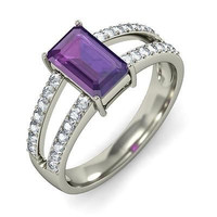 AMAZING PURPLE CZ 925 STERLING SILVER ENGAGEMENT AND WEDDING RING FOR HER