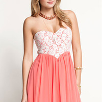 Lace Chiffon Strapless Sweetheart Dress