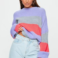 Missguided - Grey Striped Colourblock Oversized Jumper