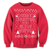 Ugly Christmas Sweater Merry CHRISTMAS ya FILTHY ANIMAL ya Mens Home Alone movie xmas ugly sweater contest party humorous Red Sweatshirt