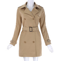 Trench Coat Women 2017 Double-Breasted Turn-Down Collar Trench Outerwear Tops Basic Coats Elegant Female Overcoat Trench Femme