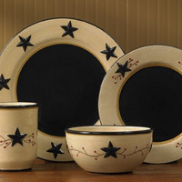 Primitive Black Star with Berry Vine Complete Place Setting - 4 Pc
