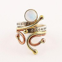 Moonstone Three Tone Sterling Silver Fanciful Ring