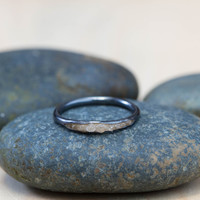 Hidden raw diamond ring, oxidised sterling silver (black silver) with white diamonds