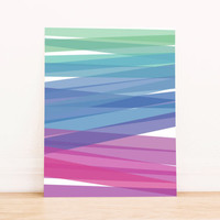 Printable Art Simple Abstract Ombre - Colorful Green, Blue, and Purple Home Decor Print Poster
