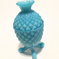 Portieux Vallerysthal Blue Glass Pineapple, Blue Opaline Glass Trinket Jar with Lid