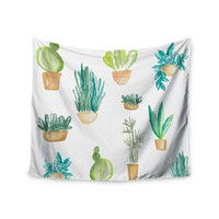 "Danii Pollehn ""Plants & Cacti""  Green White Illustration Wall Tapestry"