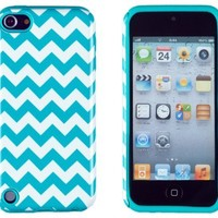 DandyCase 2in1 Hybrid High Impact Hard Aqua & White Chevron Pattern + Silicone Case Case Cover For Apple iPod Touch 5 5G (5th generation) + DandyCase Screen Cleaner