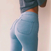 2016 Autumn Spring Thin Celebrity Style Women High Stretch Skinny Jeans Woman Pantalones Vaqueros  Denim High Waist Pants