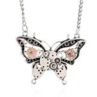 Steam punk gear butterfly pendant charm necklace , the perfect gift for the boy !