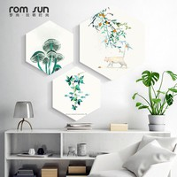 Nordic Cat n Green Plants Hexagon Canvas Painting Framed Posters Print Wall Art Pictures For Living Room Bedroom Dinning Room