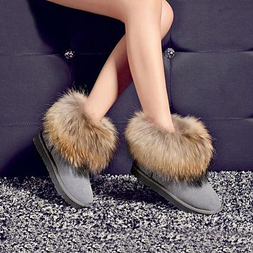 New Winter Fashion Women Snow Boots Genuine Leather Fox fur Flat With Ankle Boots Cow Muscle Warm Shoes Large Size 43 ZK2.5