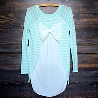 Snowed In Sheer Bow Back Sweater Tunic in Mint