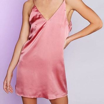 Pink Plain Bow Condole Belt V-neck Mini Dress
