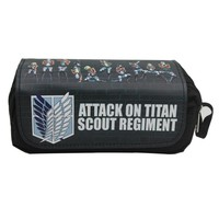 Cool Attack on Titan Hot Anime  Pencil Case Canvas Leather Pen Bags Creative Gifts Men Stationery Bag Double Zipper Pen Pencil Wallets AT_90_11