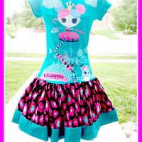 LaLaLoopsy PRINCESS ANISE boutique graphic tee knit twirl party Dress Surprise Pink size 4 5