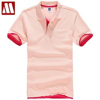Summer Women & Men Pure Color Leisure Polo Shirt Black Pink White Breathable Cotton Polo Shirts for Ladies