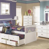 Milan White Twin Combo Captains Bed