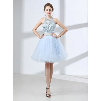 Two Pieces Homecoming Dress, Short Prom Dress ,Back To School Party Dress, Evening Dress, Formal Dress, DTH0058