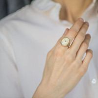 Gold plated women's watch ring, elegant lady ring watch, cocktail accessory, oval ring watch mechanical