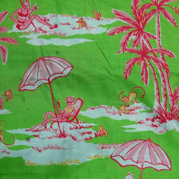 """Lilly Pulitzer Inspired Palm Beach Green and Pink Fabric Sunbathing Monkeys  3yds. x 42"""" wide"""