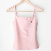 Rose Knit Crop Tank Top - Pink