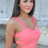 Coral Crop Top with Peek A Boo Sides