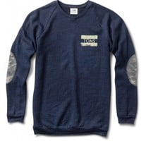 Women's Crewneck Navy Sweatshirt with Camo Elbow Patches