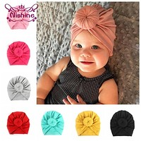 Nishine Baby Turban Hat with Bow Children Hat Cotton Blend born Unicorn Beanie Top Knot Kids Photo Props Baby Shower Gift