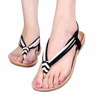 2016 Fashion Women Slipper Summer Beaded Bohemian Sandals Beach Shoes Flat Shoes Adult zapatos mujer #25